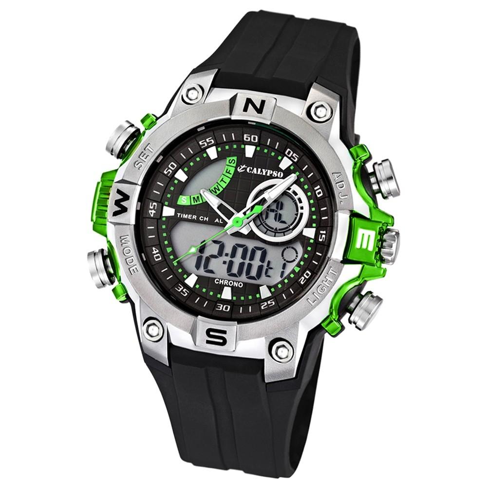 Bemerkenswert Gute Herrenuhren Dekoration Von Calypso Herrenchronograph Schwarz/grün Uhren Kollektion Uk5586/3