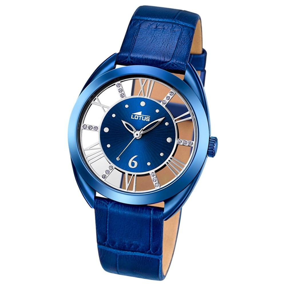 lotus damen armbanduhr trendy analog quarz uhr leder blau. Black Bedroom Furniture Sets. Home Design Ideas