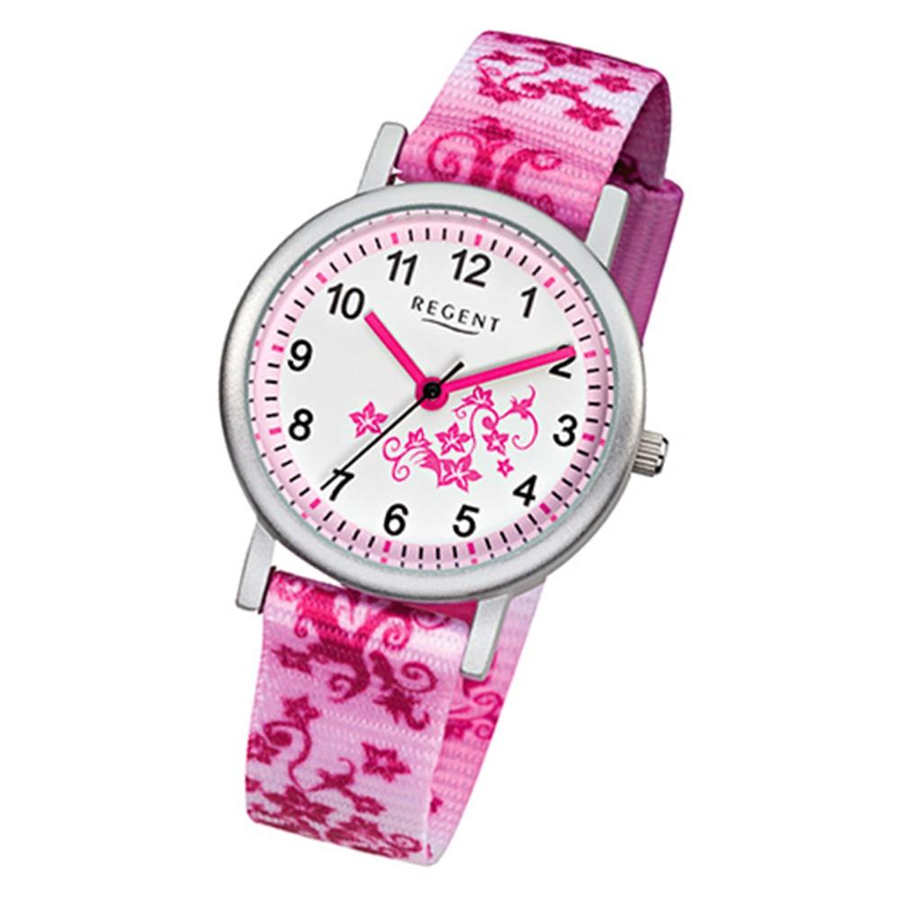 regent blumenranke kinder armbanduhr textil rosa pink wei m dchen uhr urf727. Black Bedroom Furniture Sets. Home Design Ideas