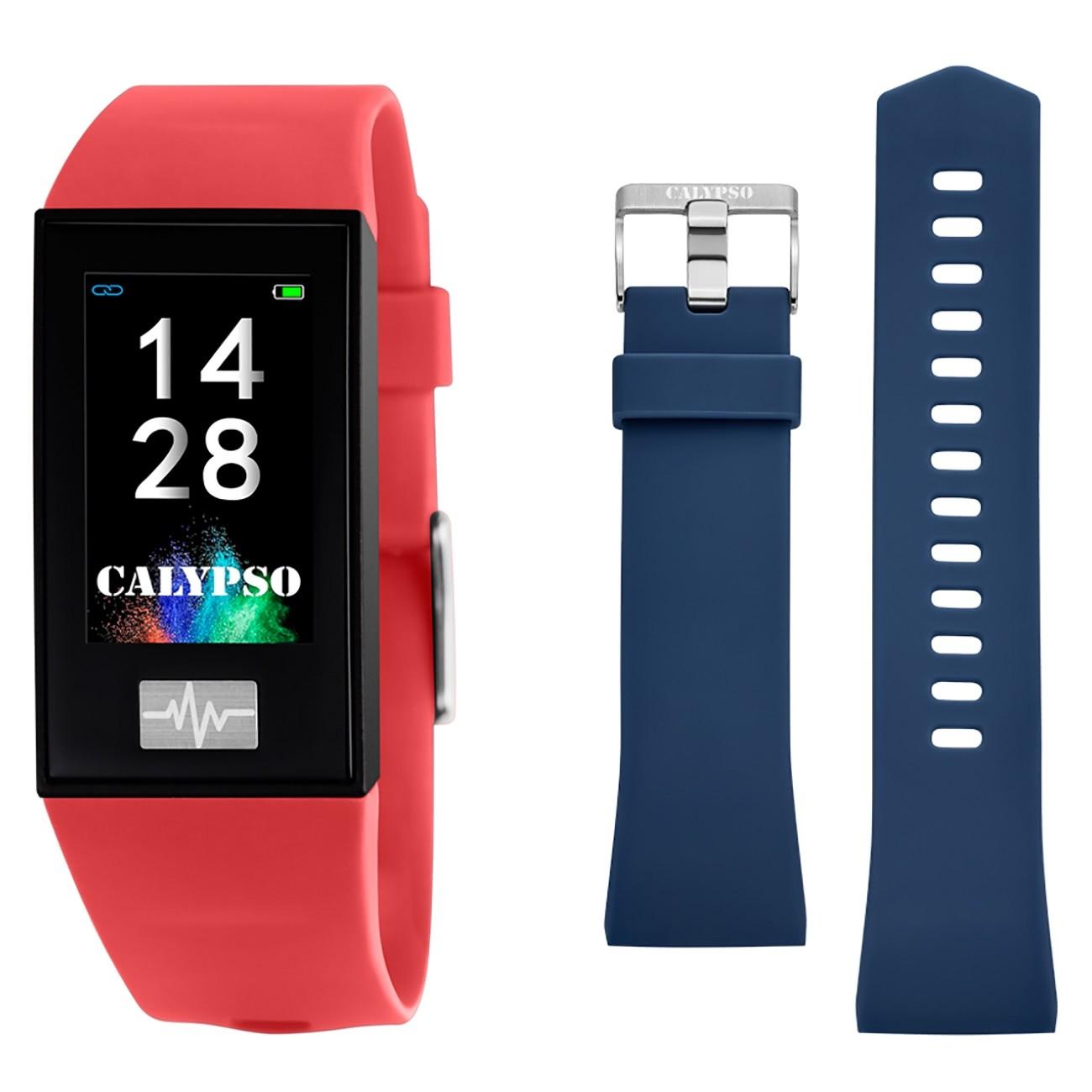 Calypso Fitness Tracker Smartime K8500-4 Smartwatch rot, blau TCK8500-4