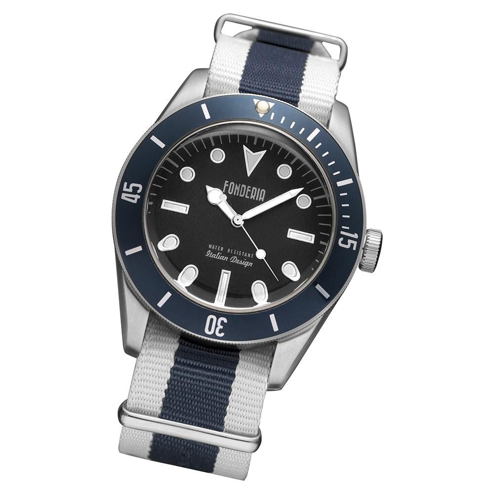 Fonderia Herren-Uhr P-8A002UBB Quarz Textil Nylon-Armband weiß blau UAP8A002UBB