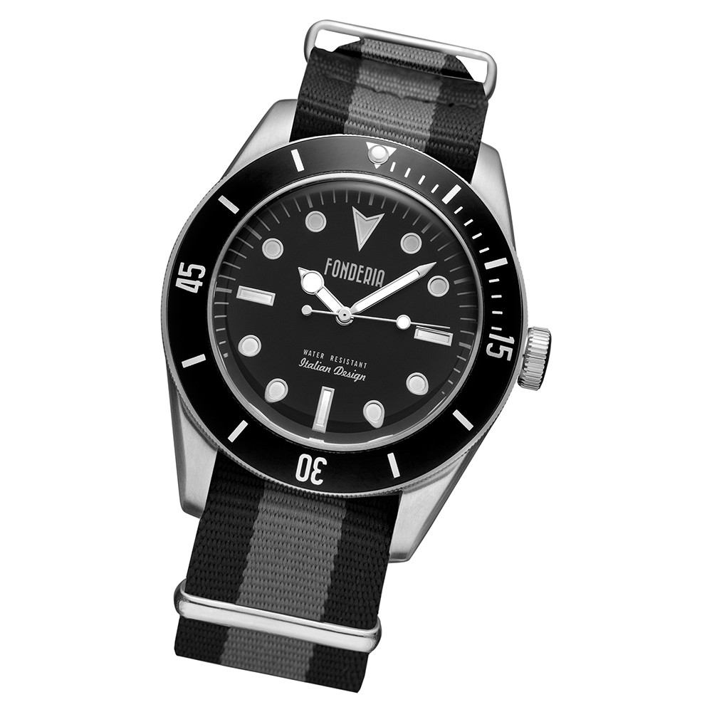 Fonderia Herren-Uhr P-8A002UNN Quarz Textil-Armband schwarz grau UAP8A002UNN