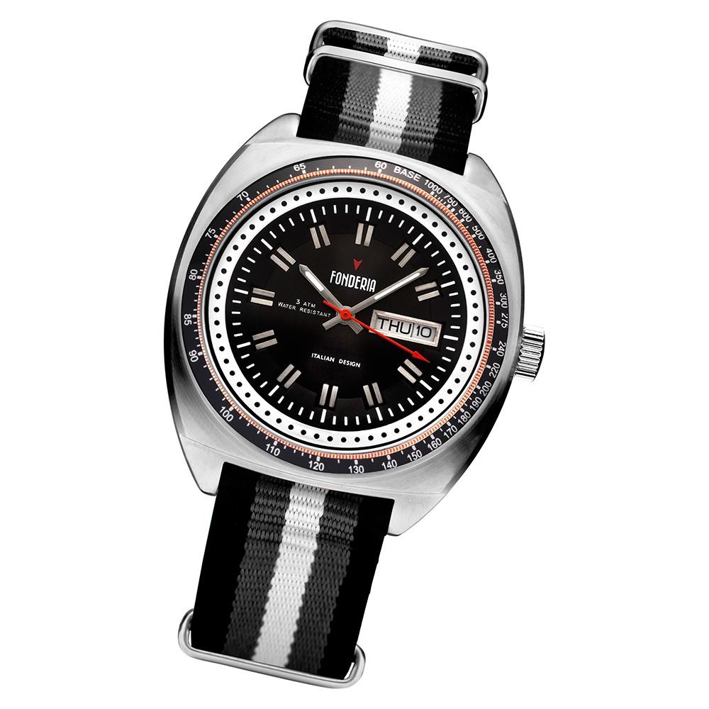Fonderia Herren-Uhr P-8A004UN1 Quarz Textil-Band schwarz grau weiß UAP8A004UN1