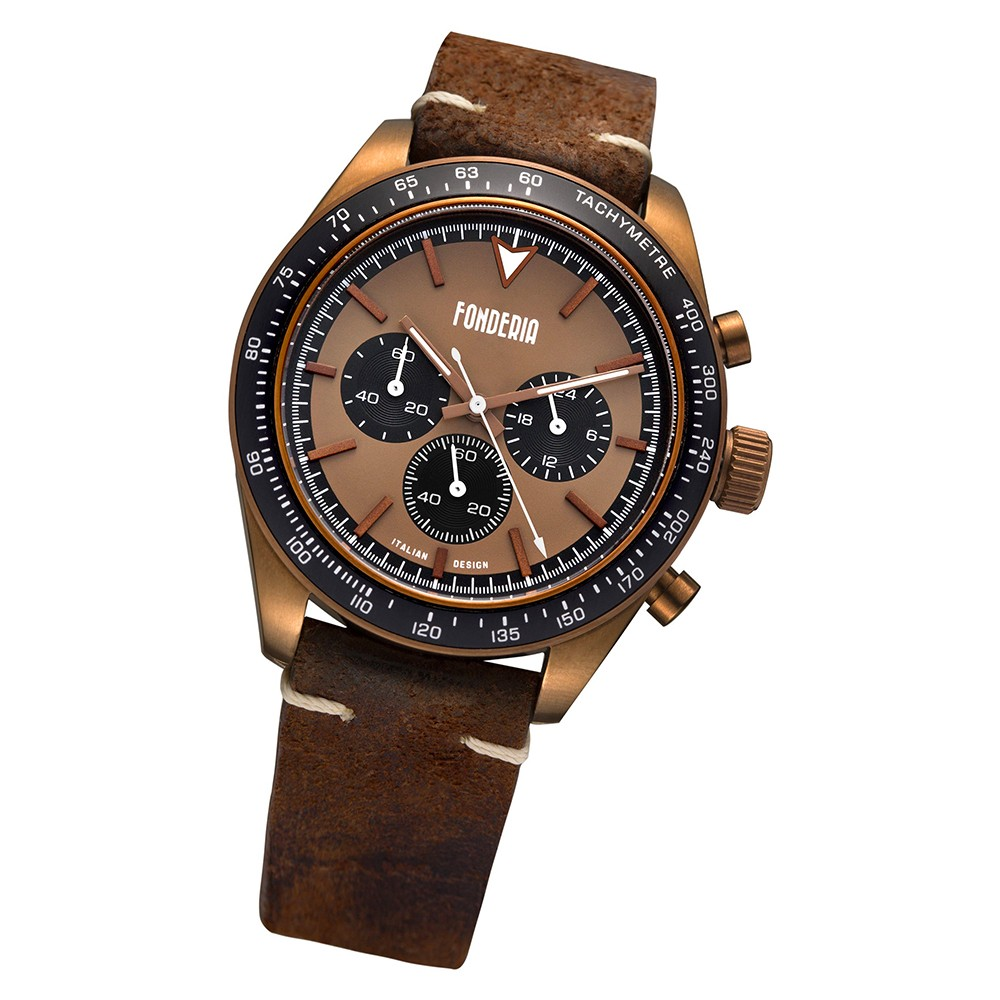 Fonderia Herren-Armbanduhr P-9B011UMN Quarz Leder-Armband braun UAP9B011UMN
