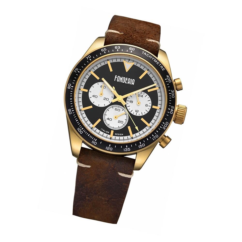 Fonderia Herren-Armbanduhr P-9G011UNW Quarz Leder-Armband braun UAP9G011UNW
