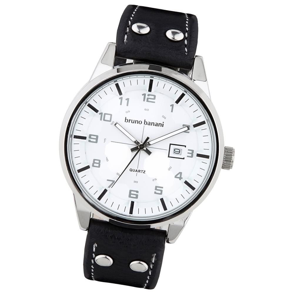 Bruno Banani Herren Armbanduhr Okan Analog Leder-Armband schwarz UBR30006