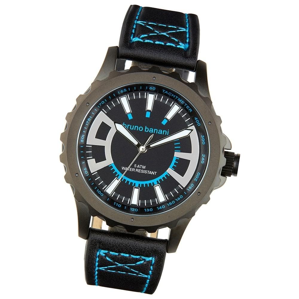 Bruno Banani Herren Armbanduhr Meros Analog Leder-Armband schwarz UBR30021