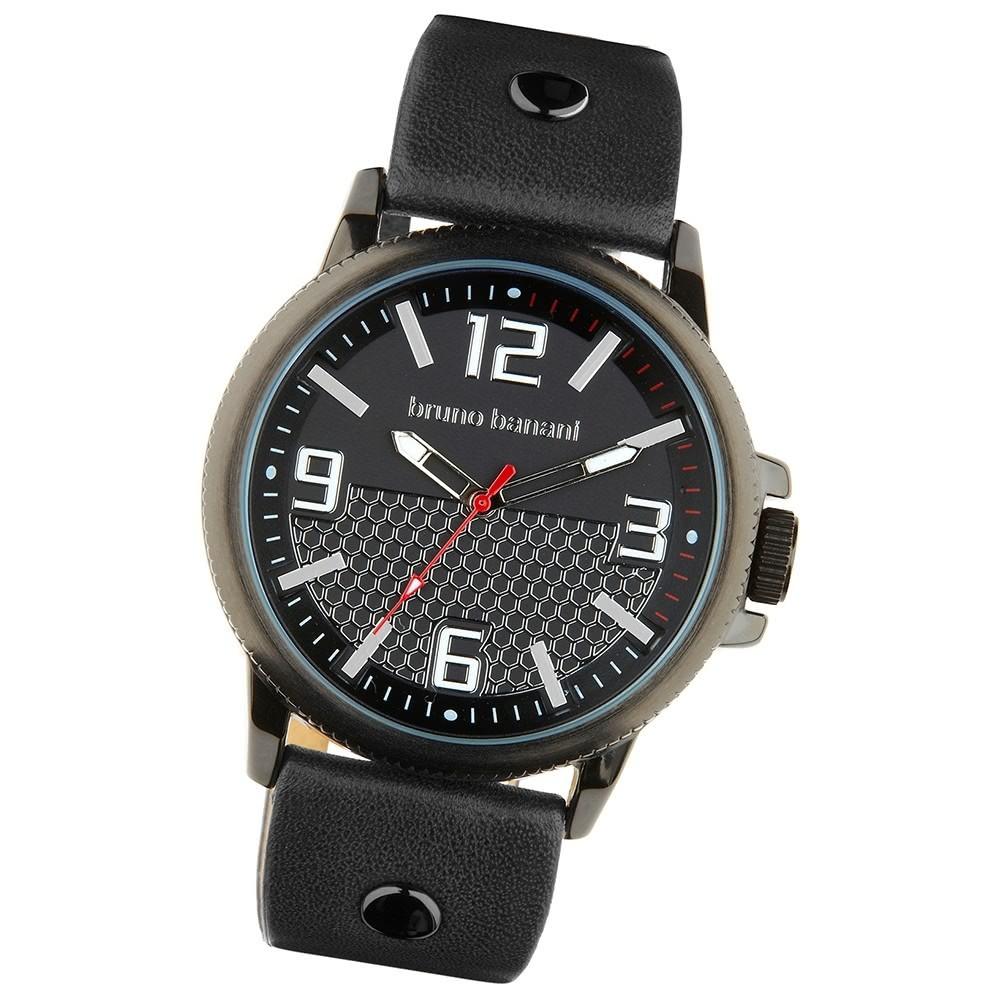 Bruno Banani Herren Armbanduhr Prios Analog Leder-Armband schwarz UBR30025