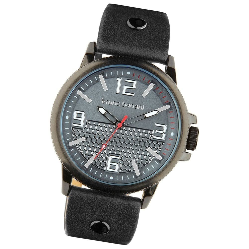Bruno Banani Herren Armbanduhr Prios Analog Leder-Armband grau UBR30026