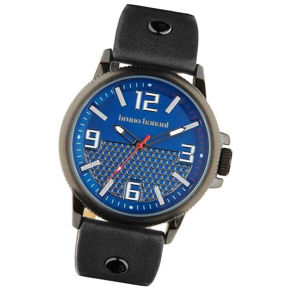 Bruno Banani Herren Armbanduhr Prios Analog Leder-Armband blau UBR30027