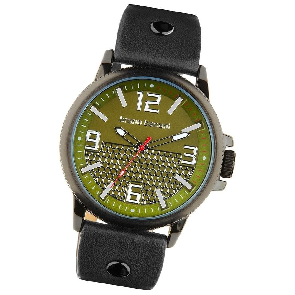 Bruno Banani Herren Armbanduhr Prios Analog Leder-Armband grün UBR30028
