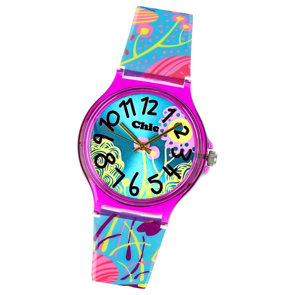 Chic-Watches Damenuhr Flower Power türkis Armbanduhren Chic Lady UC018