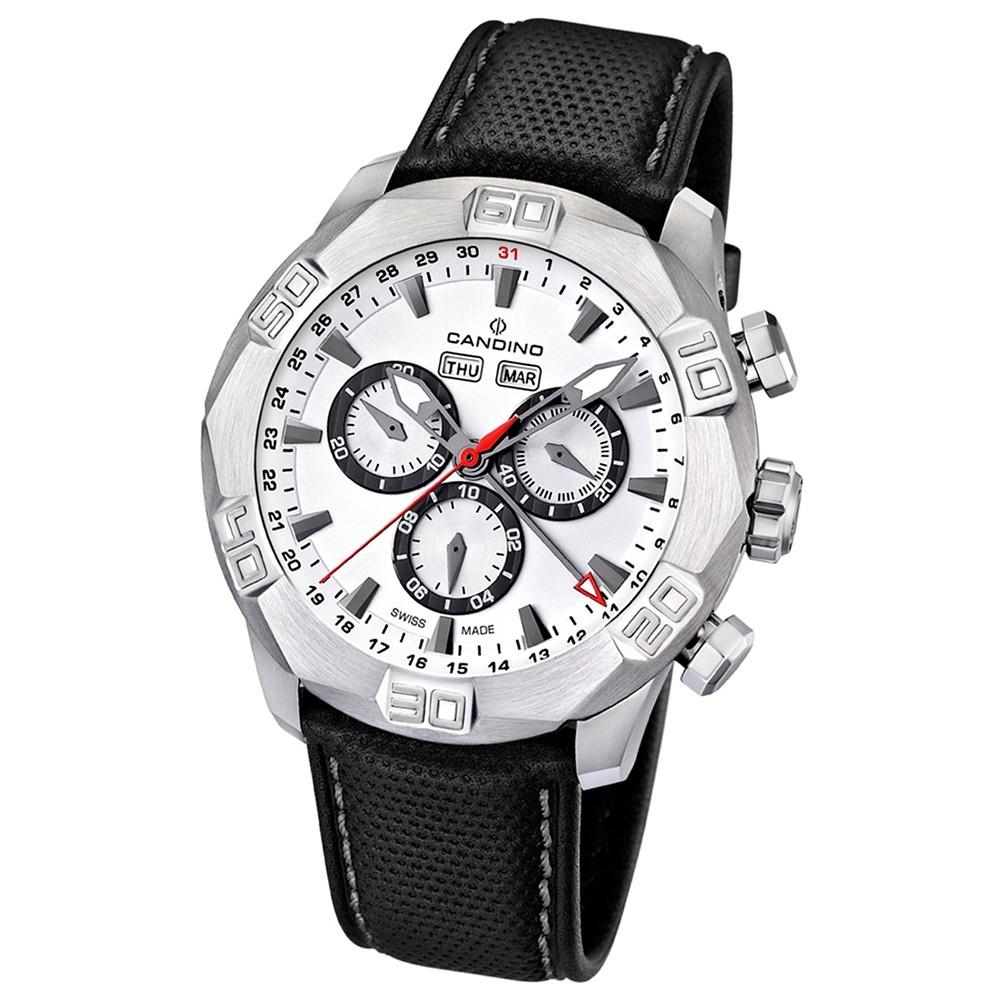 Candino Herren-Armbanduhr Performance Chronograph Quarz Leder UC4476/1