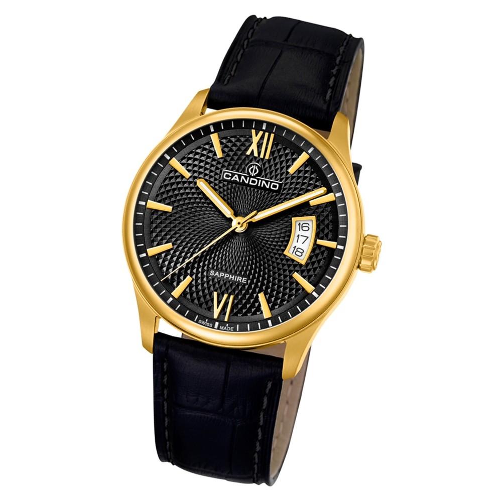 Candino Herren Armbanduhr Classic Timeless C4693/3 Quarz Leder schwarz UC4693/3