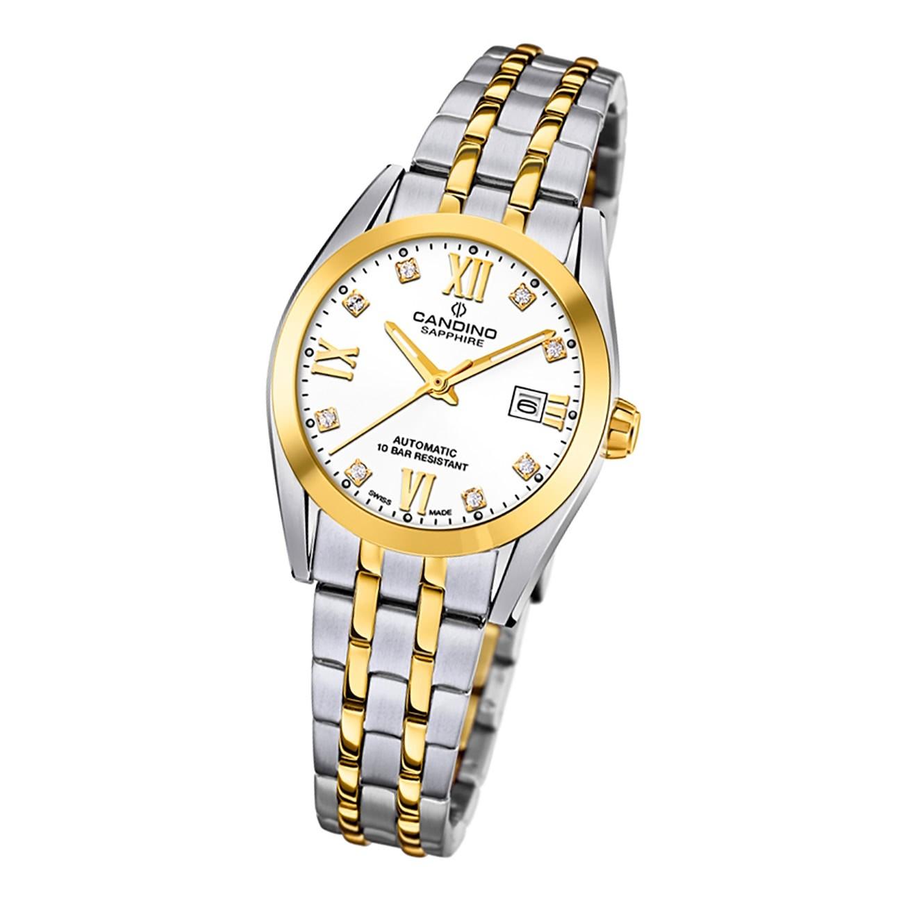 Candino Damen Armbanduhr Automatik C4704/1 Analog Edelstahl silber gold UC4704/1