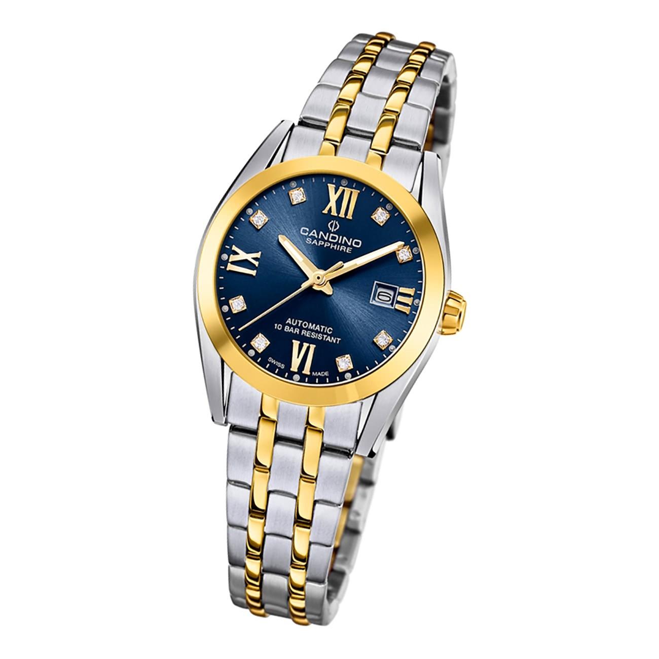 Candino Damen Armbanduhr Automatik C4704/2 Analog Edelstahl silber gold UC4704/2