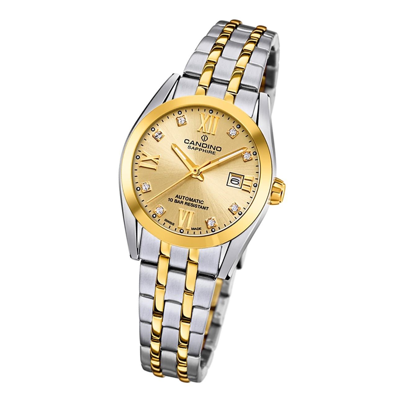 Candino Damen Armbanduhr Automatik C4704/3 Analog Edelstahl silber gold UC4704/3