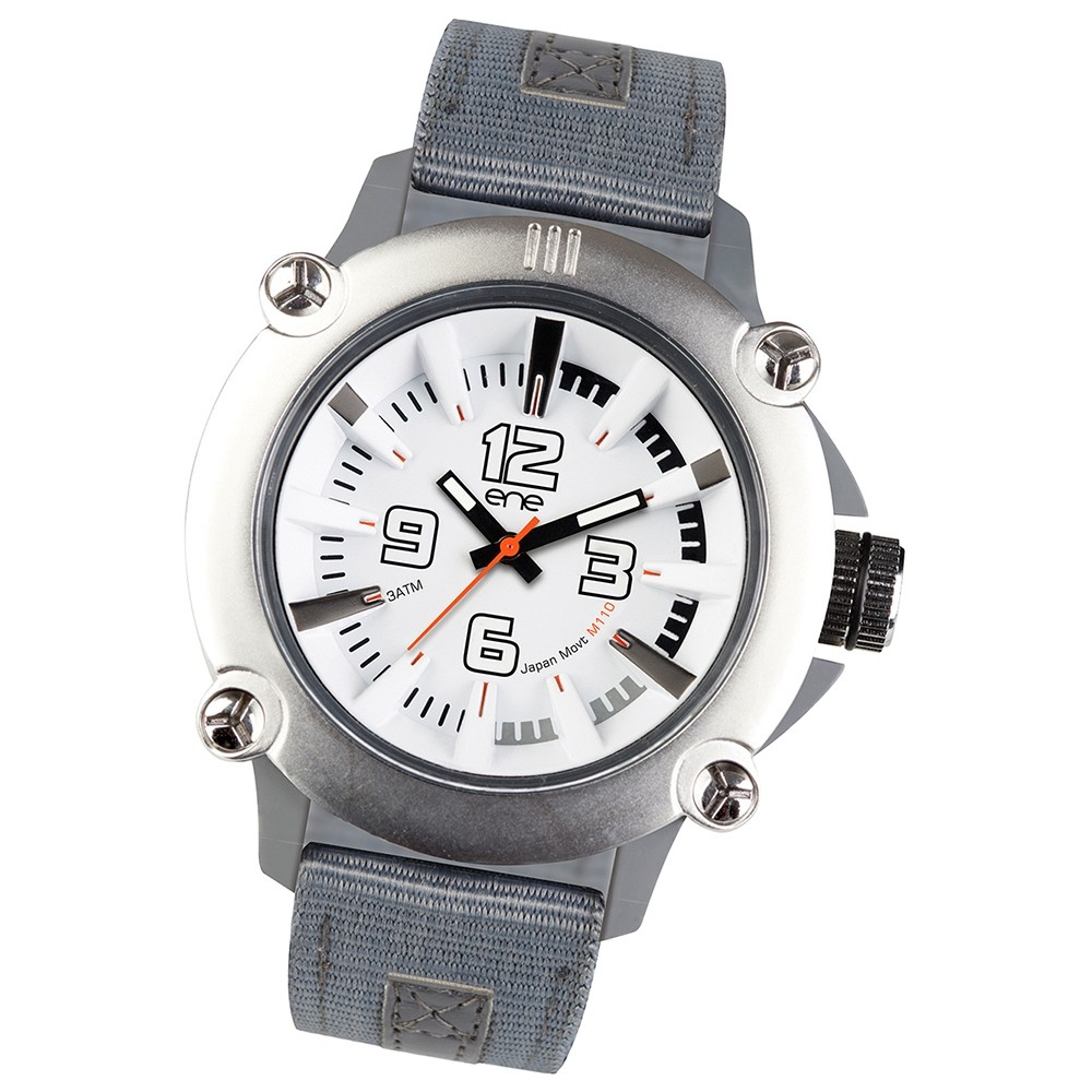 Ene Watch Modell 110 steel/grau, 51mm, Nylon-Armband UE72418