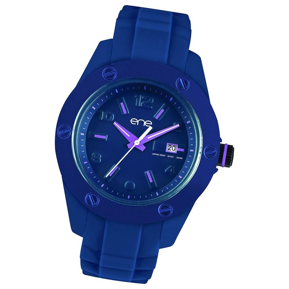Ene Watch Modell 107 Woman, blau/pink, 42mm, Silikon-Armband UE72562