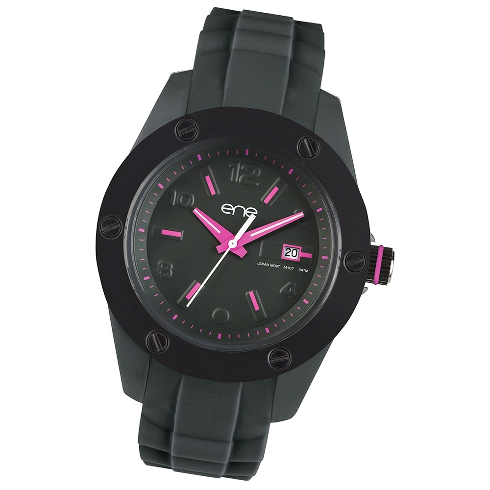 Ene Watch Modell 107 Woman, grau/pink, 42mm, Silikon-Armband UE72579