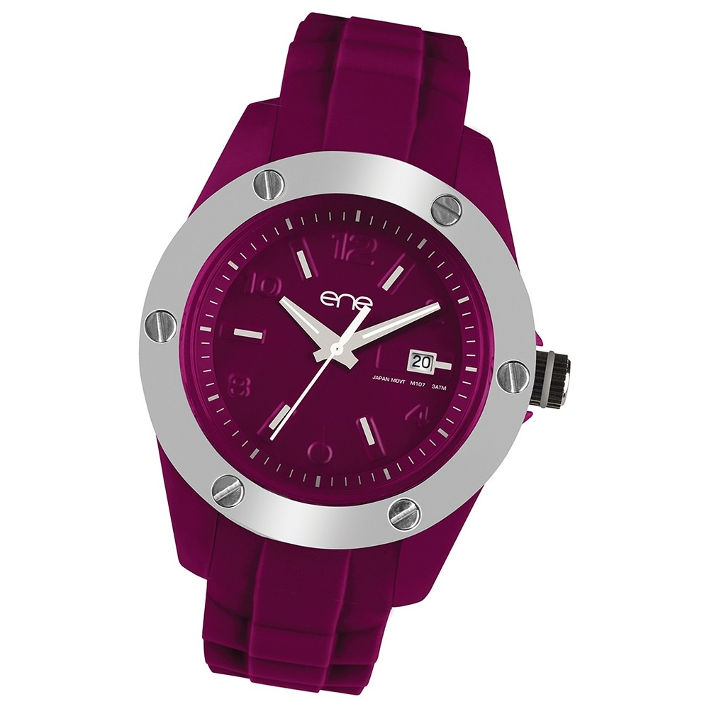 Ene Watch Modell 107 Woman, dark red, 42mm, Silikon-Armband UE72609