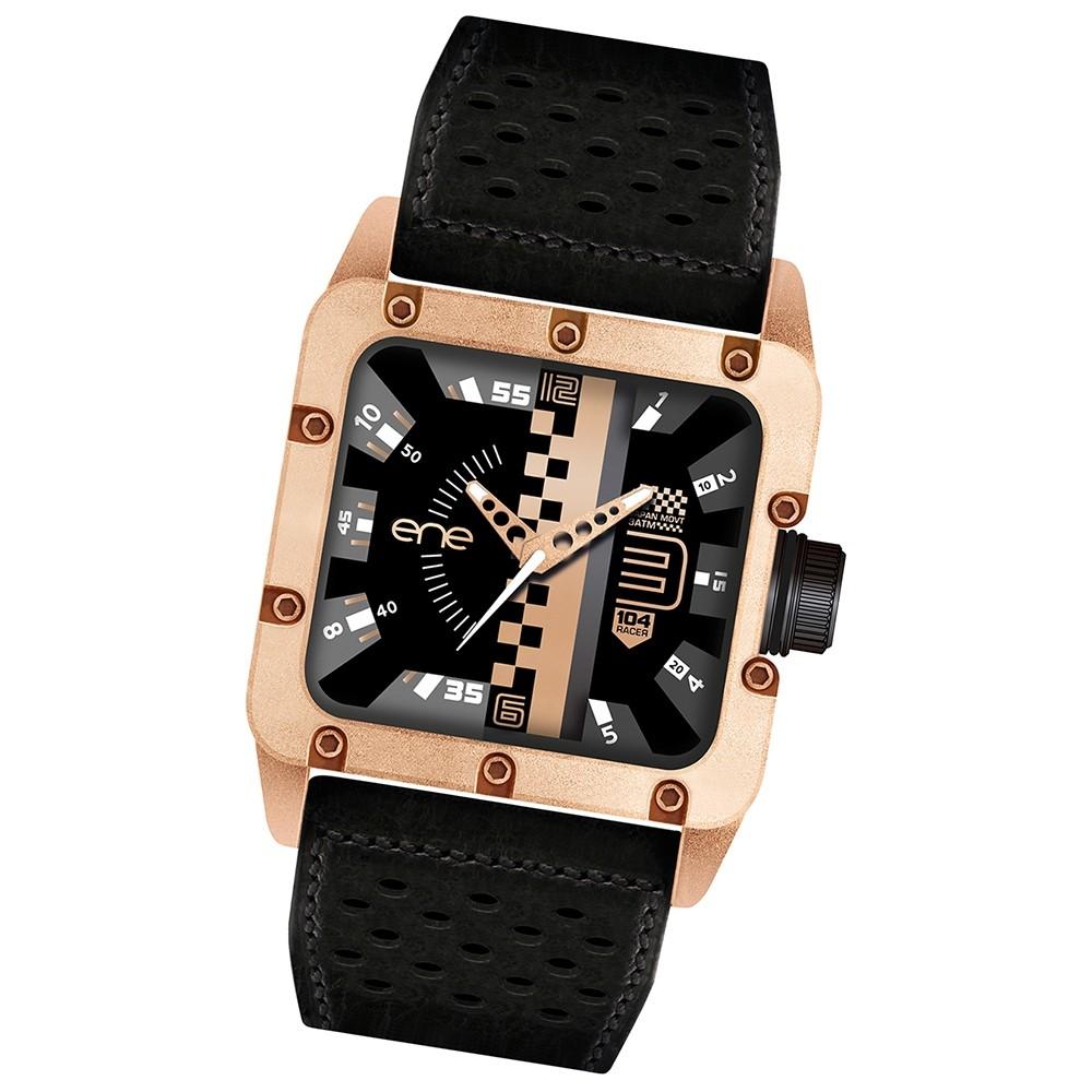 Ene Watch Herrenuhr Modell 104-Racer schwarz-rosegold Uhren UE78588