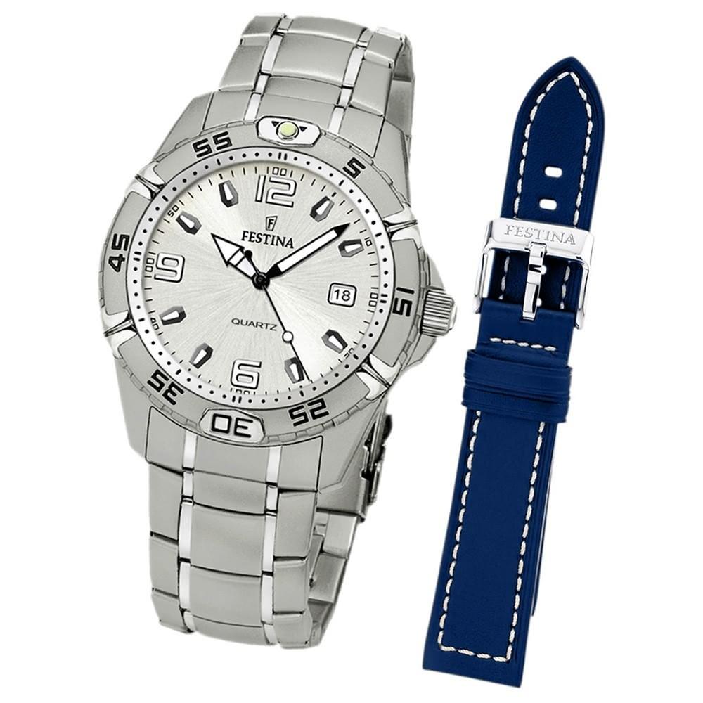 FESTINA Herren-Armbanduhr analog Edelstahl Set-Uhr mit Wechselarmband UF16170/1