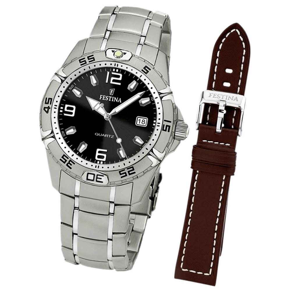 FESTINA Herren-Armbanduhr analog Edelstahl Set-Uhr mit Wechselarmband UF16170/7