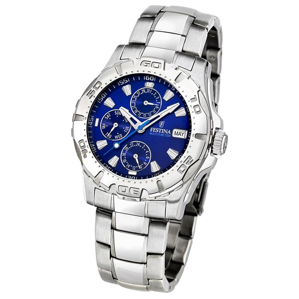FESTINA Herrenuhr Multifunktionsuhr Quarz Klassik blau Sport Uhr UF16242/A