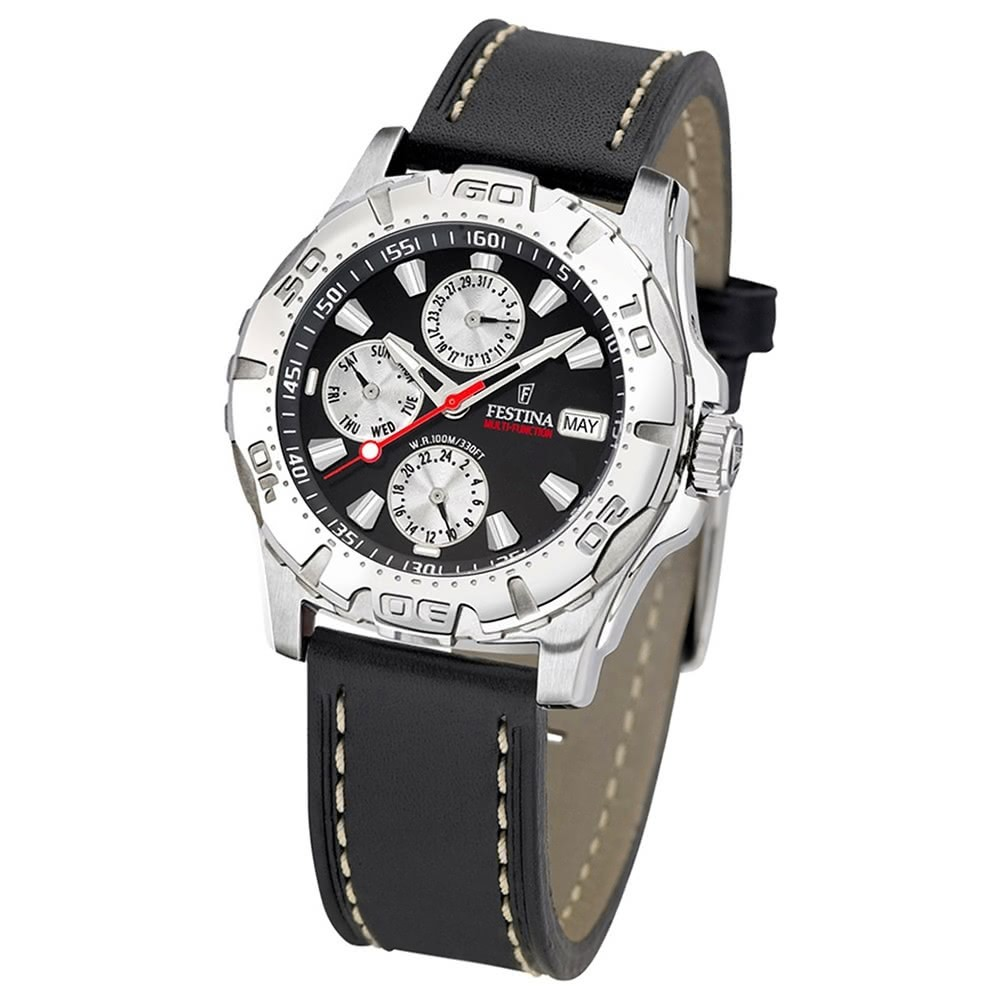 FESTINA Herren-Armbanduhr analog Quarz Leder Sport Uhr UF16243/6