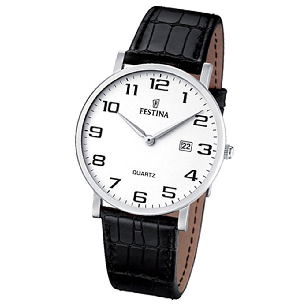 FESTINA Herren-Armbanduhr analog Quarz Leder Klassik Uhr UF16476/1