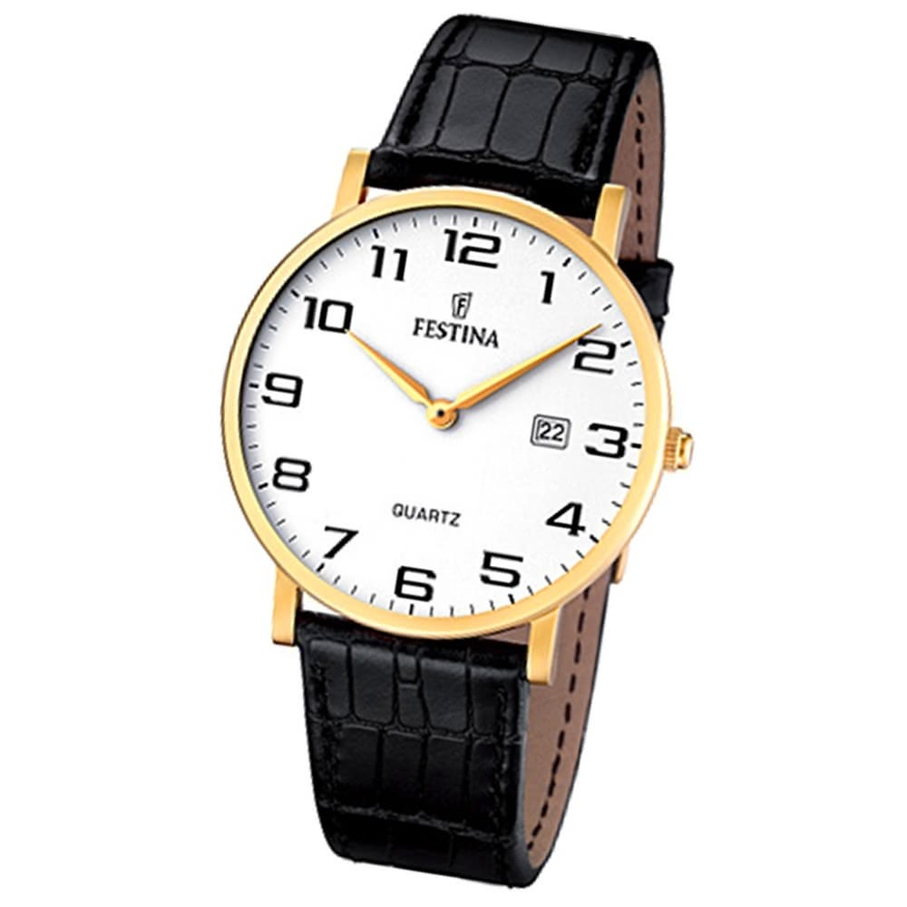 FESTINA Herren-Armbanduhr analog Quarz Leder Klassik Uhr UF16478/1