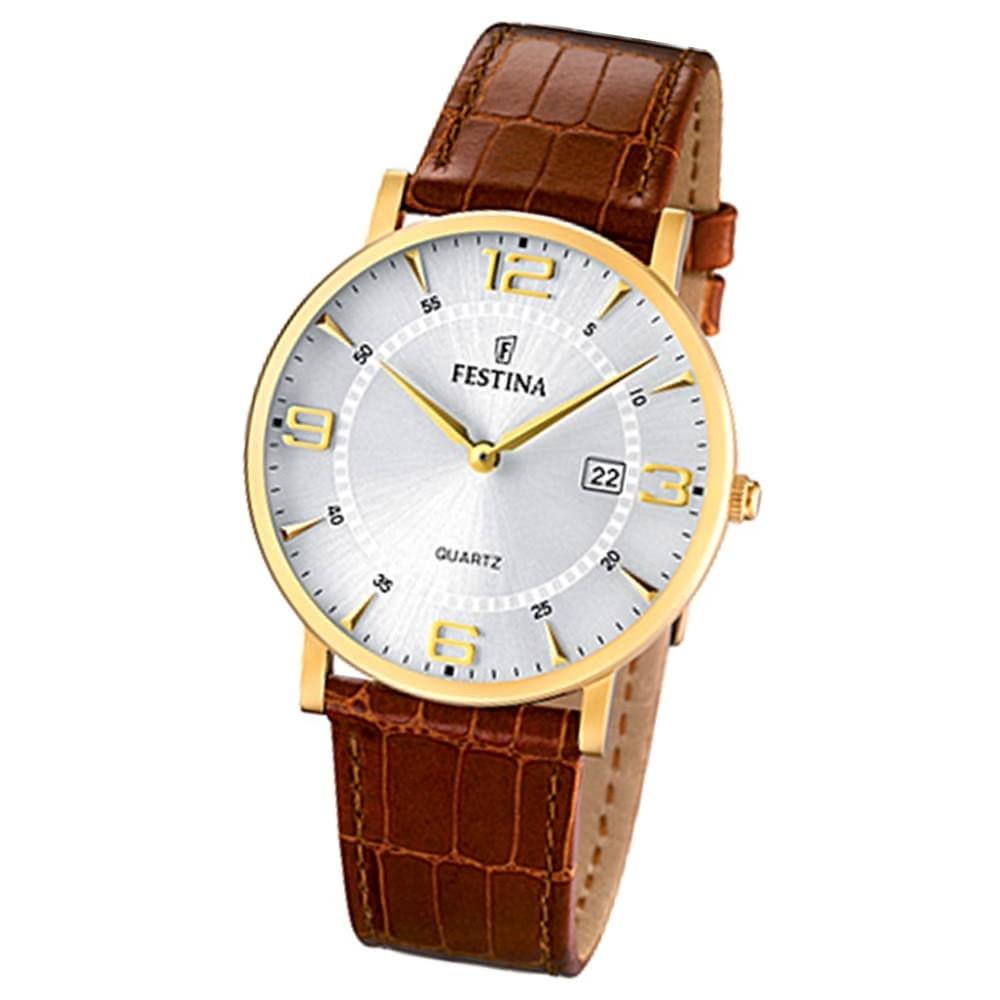 FESTINA Herrenuhr Analog Quarz Leder Armband braun Klassik Uhr UF16478/3