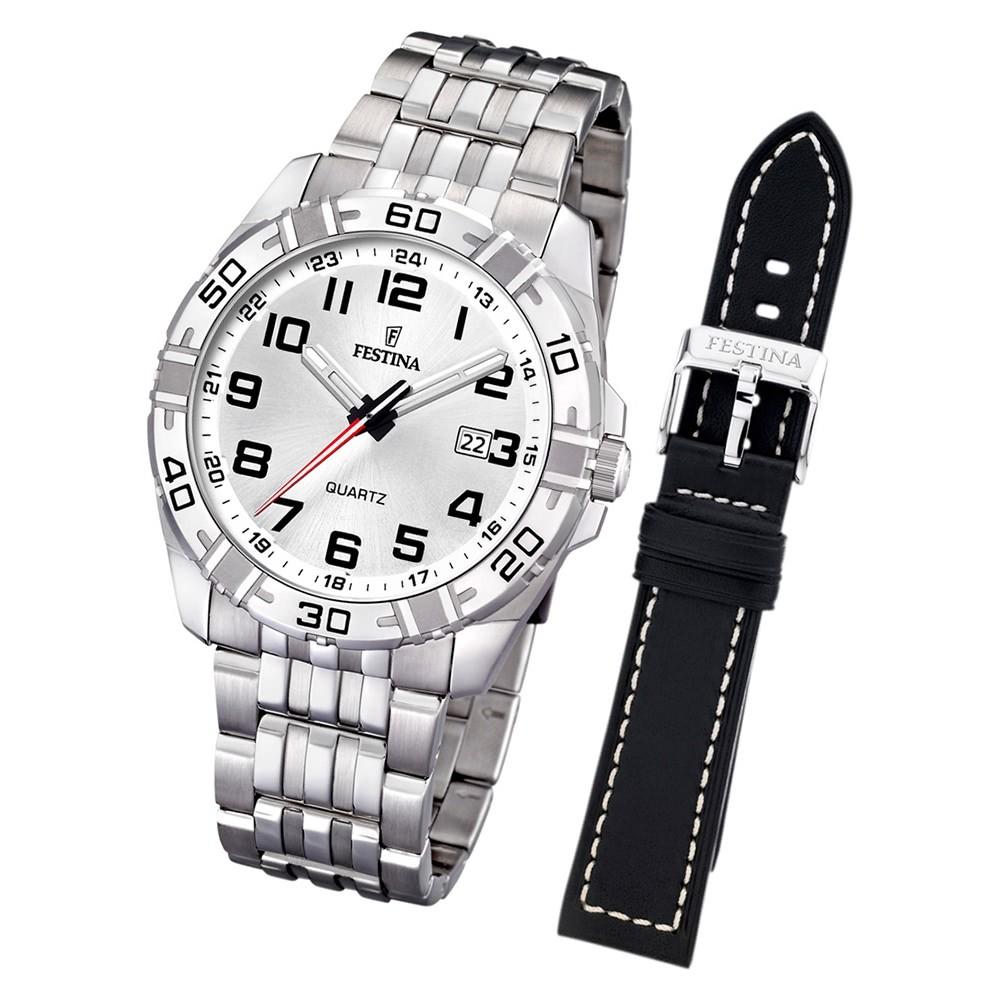 FESTINA Herren-Uhr Quarz Edelstahl Sport Set-Uhr mit Wechselarmband UF16495/1