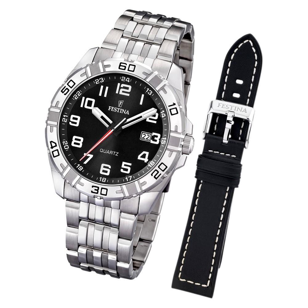 FESTINA Herren-Uhr Quarz Edelstahl Sport Set-Uhr mit Wechselarmband UF16495/2