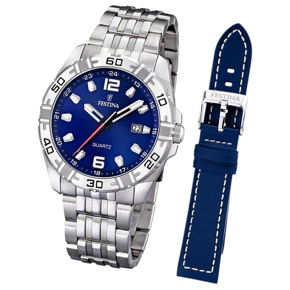 FESTINA Herren-Uhr Quarz Edelstahl Sport Set-Uhr mit Wechselarmband UF16495/A