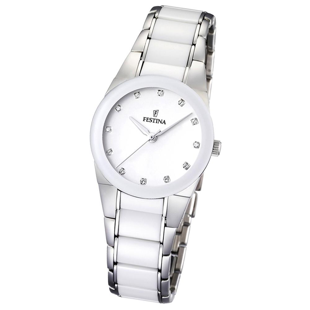 FESTINA Damen-Armbanduhr analog Quarz Edelstahl/Keramik UF16534/3