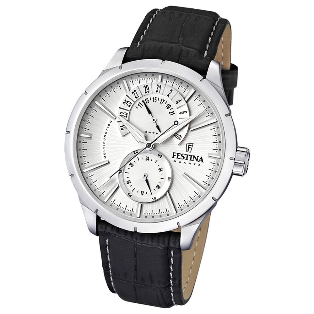 FESTINA Herrenuhr Multifunktion Armband weiß-braun UF16573/1