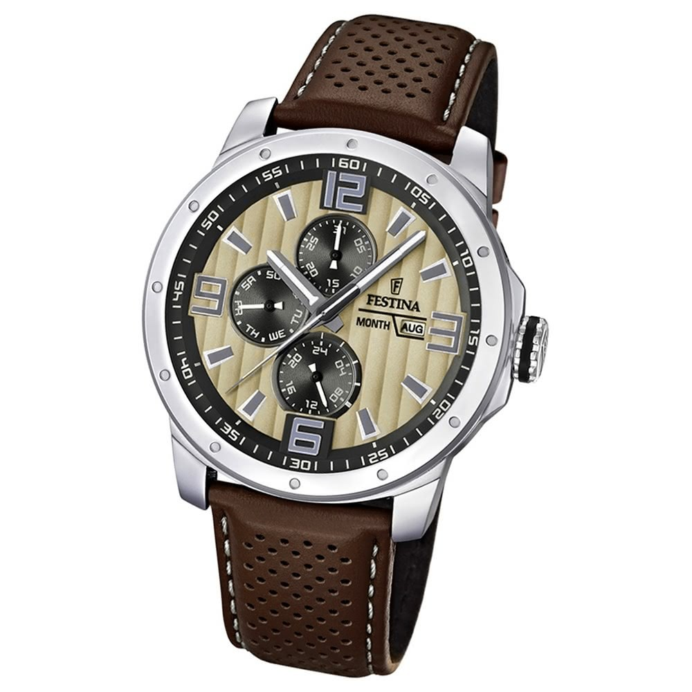 FESTINA Herrenuhr Multifunktion Sport Uhren braun-beige UF16585/6