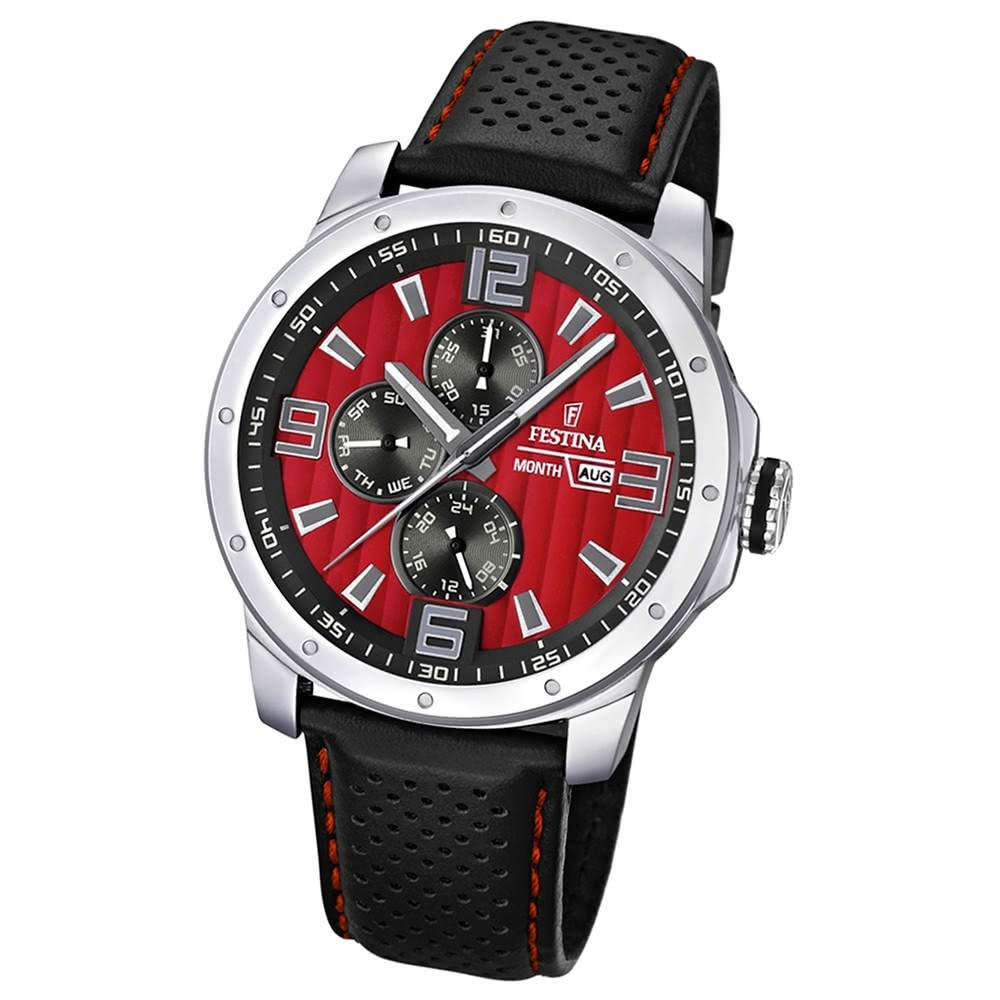 FESTINA Herrenuhr Multifunktion Sport Uhren rot-schwarz UF16585/7
