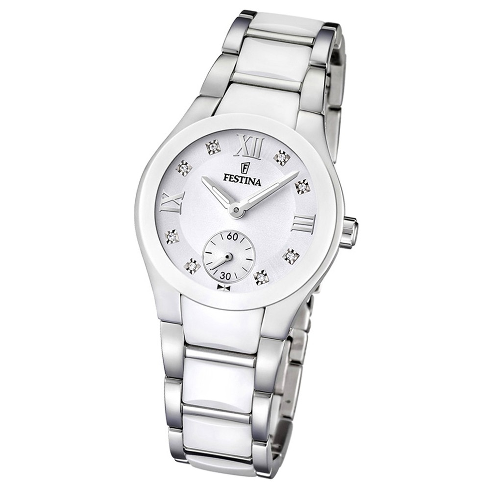 FESTINA Damen-Armbanduhr analog Quarz Edelstahl/Keramik Trend Uhr UF16588/2