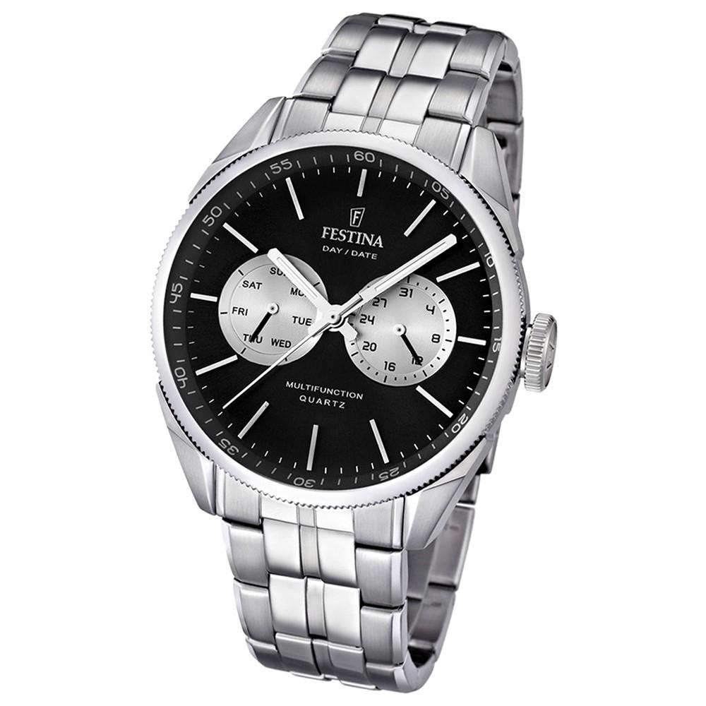 FESTINA Herrenuhr Multifunktionsuhr schwarz Klassik Uhren UF16630/7