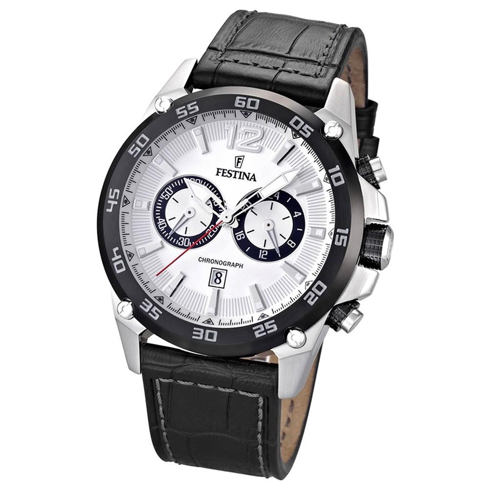 FESTINA Herrenuhr schwarz-weiß Chronograph Sport Uhren UF16673/1