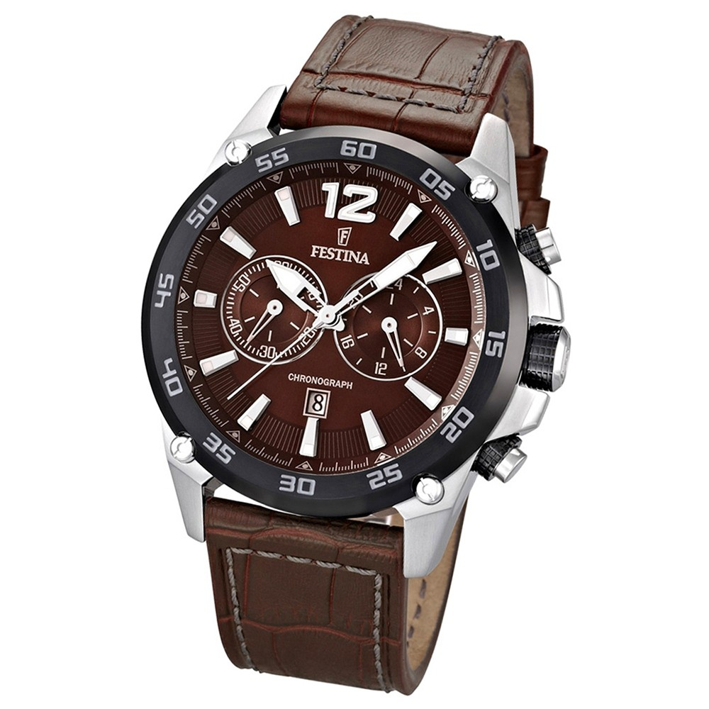 FESTINA Herrenuhr Chronograph braun, braunes Lederband Sport Uhren UF16673/3