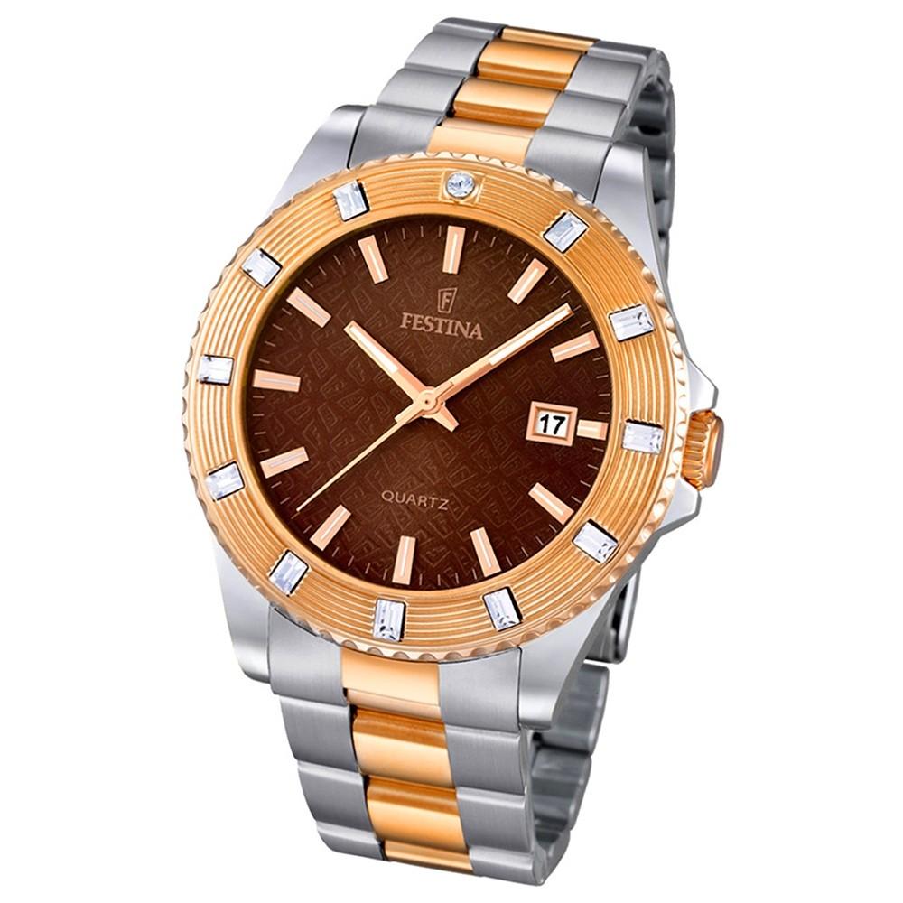 FESTINA Damen-Armbanduhr Boyfriend analog Quarz Edelstahl UF16687/4