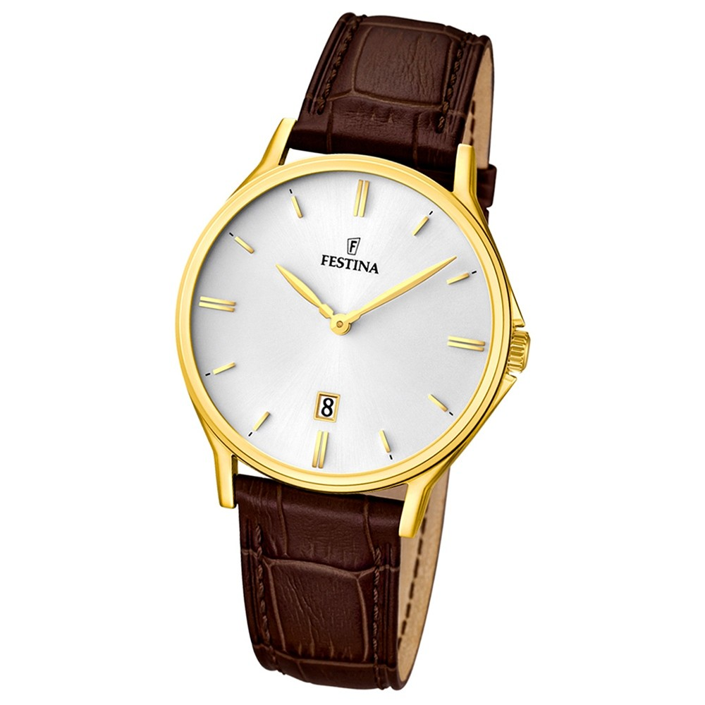 FESTINA Herren-Armbanduhr Klassik analog Quarz Leder UF16747/1