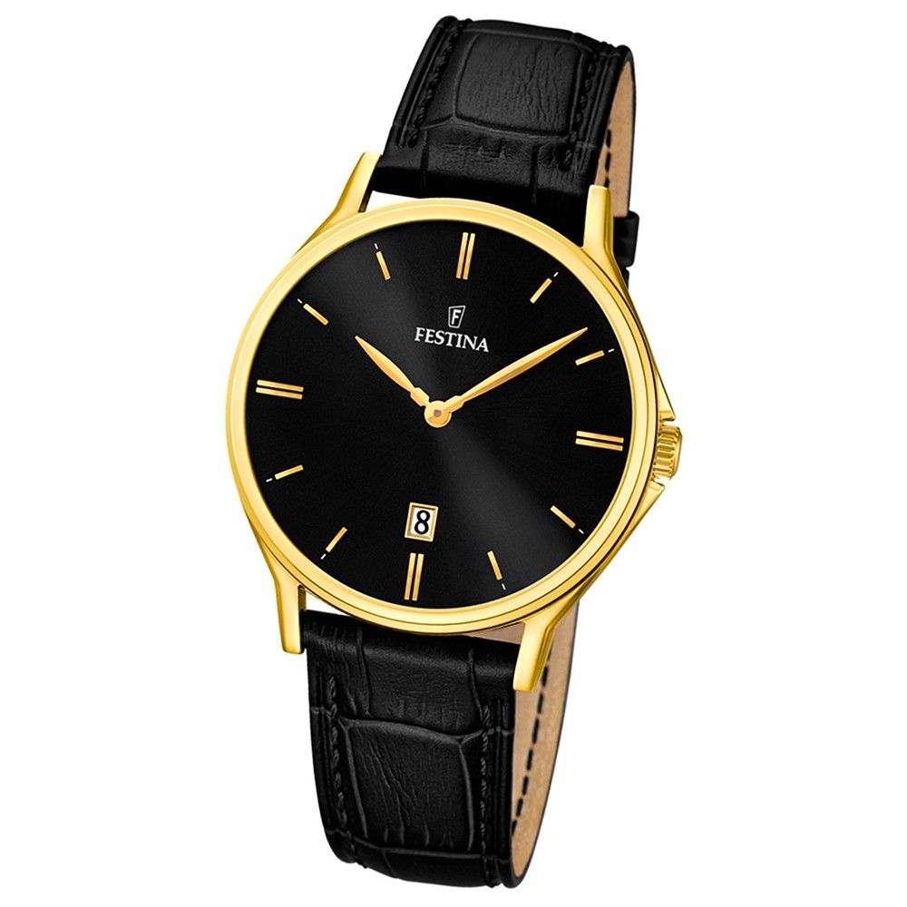 FESTINA Herren-Armbanduhr Klassik analog Quarz Leder UF16747/4