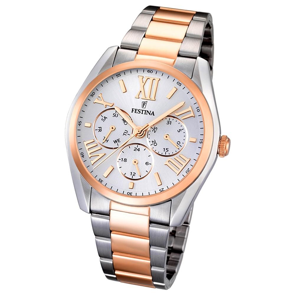 FESTINA Multifunktionsuhr Damenuhr Klassik Quarz rosegold Trend Uhren UF16751/3