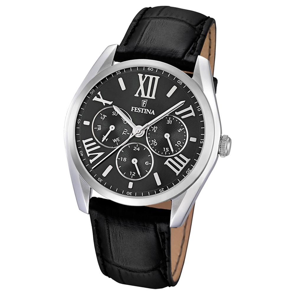 FESTINA Herren-Armbanduhr Klassik Multifunktion analog Quarz Leder UF16752/2