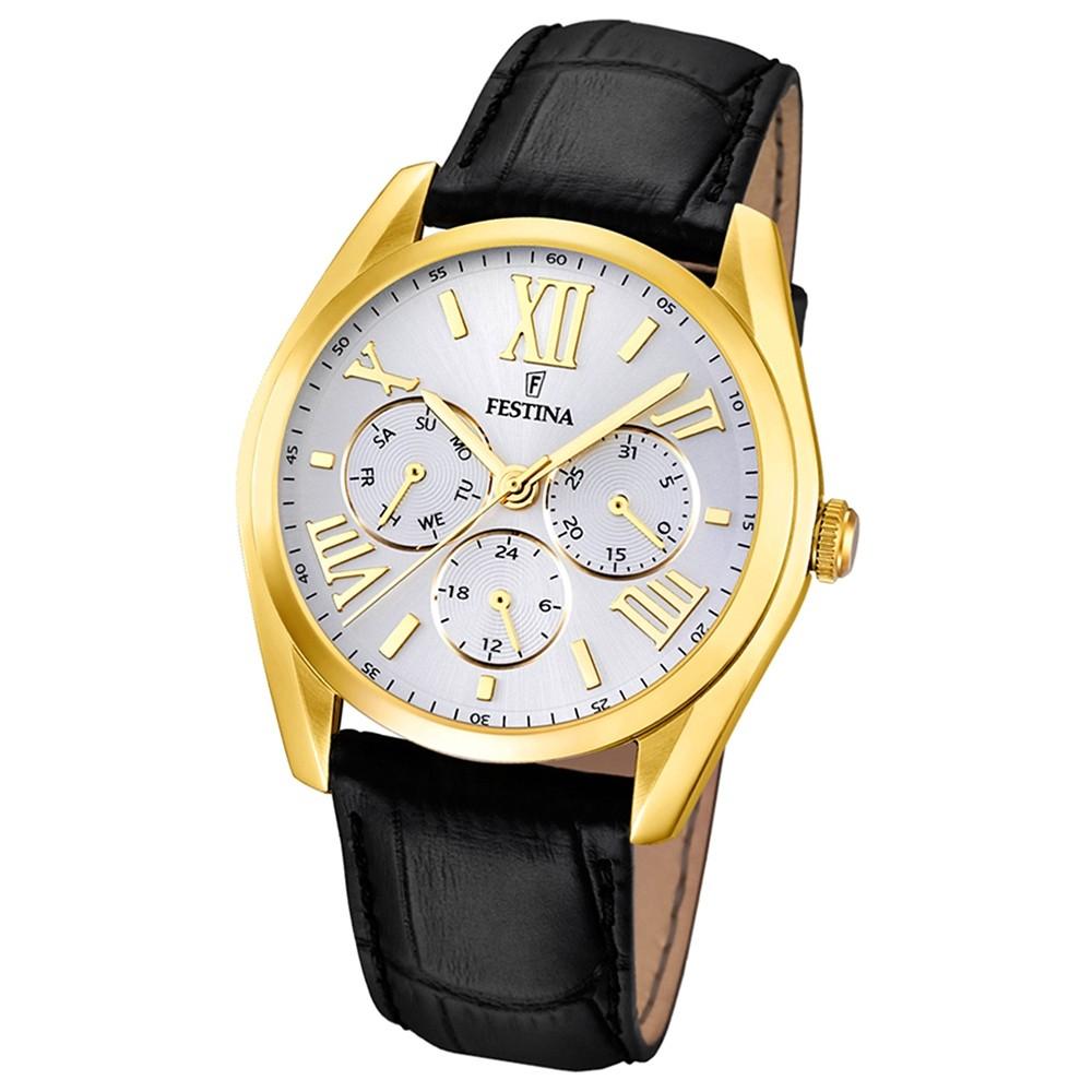 FESTINA Herren-Armbanduhr Klassik Multifunktion analog Quarz Leder UF16753/1